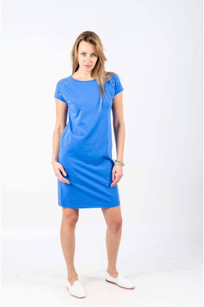 Mėlyna moteriška suknelė