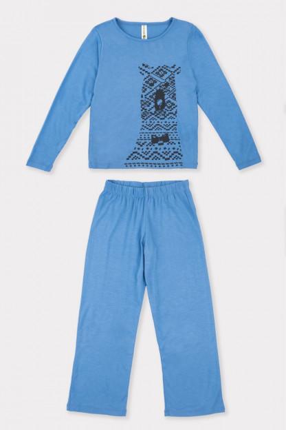 Berniukų pižama su meškučio aplikacija iš bambuko pluošto
