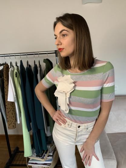 Įvairių spalvų dryžuota moteriška palaidinė | Omniteksas.lt