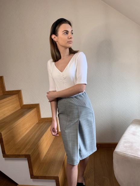 Švs. mėlynas moteriškas sijonas | Omniteksas.lt